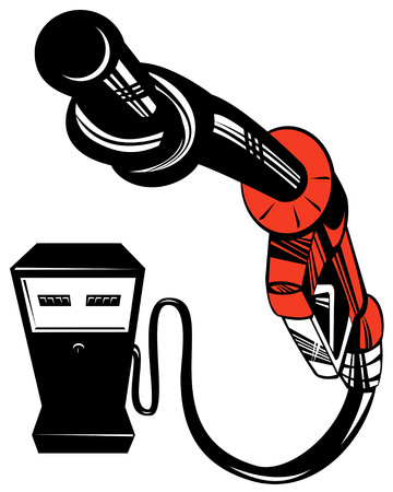 nozzle: Gasoline pump nozzle twisted into a knot
