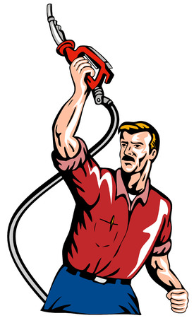 gas man: Man raising a gasoline pump nozzle Illustration