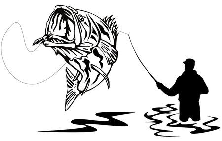 漁師、オオクチバスをキャッチ  イラスト・ベクター素材