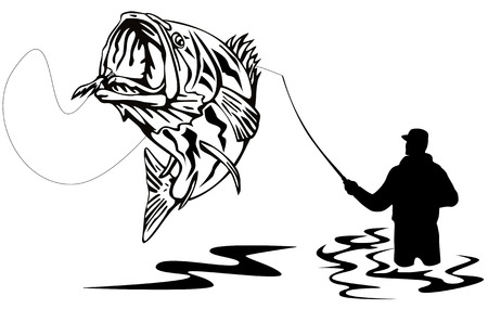 catch: Pescatore che catturi un largemouth bass
