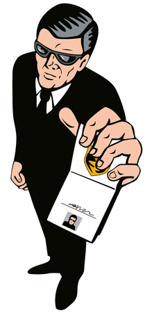 bodyguard: Secret agent showing badge Illustration