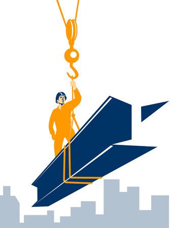 Construction worker on top of steel girder Stock Vector - 3119055