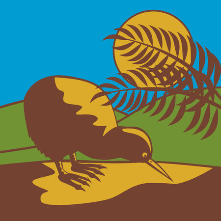 Kiwi bird with moon in the background Vector