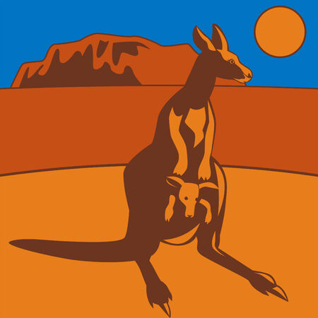 Kangaroo with rock in background