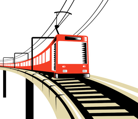 rail track: Electric train traveling over viaduct Illustration