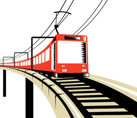 railway track: Elektrische trein onderweg over viaduct