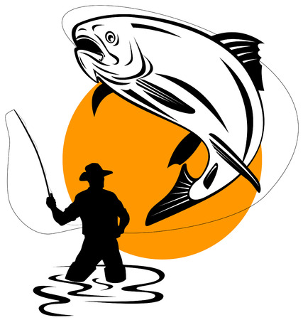 p�cheur: Fly Fisherman attraper une truite sautant