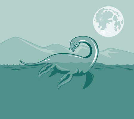 loch ness: Loch Ness monster Illustration