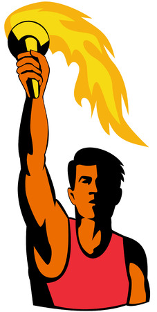 flames vector: Athlete holding an olympic torch Illustration