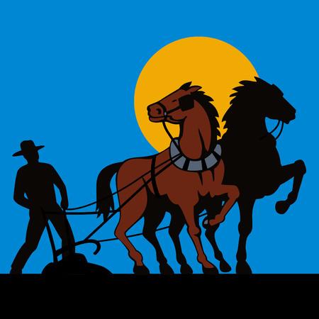 arando: Agricultor y sus caballos  Vectores