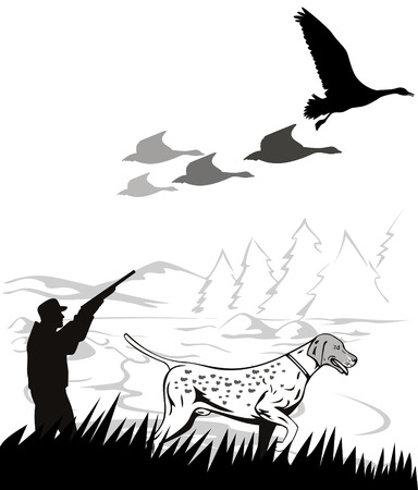 hunting dog: Hunter and his dog Illustration