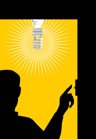 lighting bulb: Man switching on light bulb