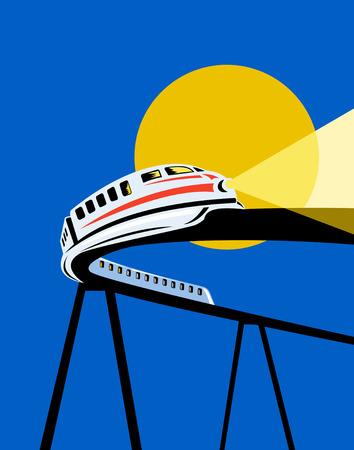 Futuristic monorail Vector