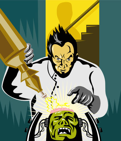 villain: Dr Frankenstein at work Illustration