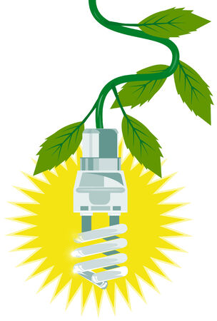 compact fluorescent lightbulb: Compact Fluorescent Light with leaves Illustration