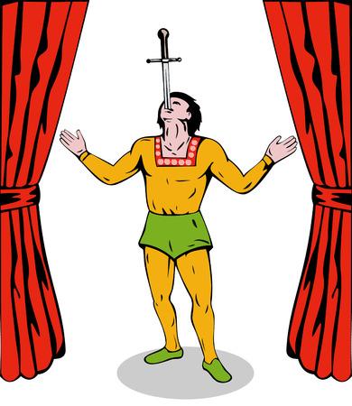 sword act: Sword swallower Illustration