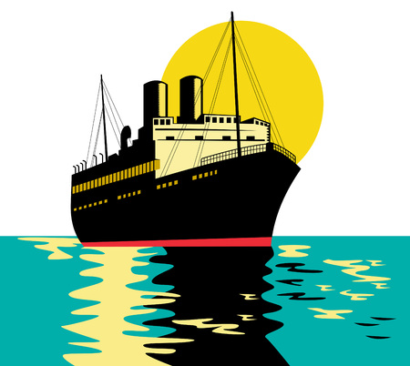 ocean liner: Ocean liner with moon in the background Illustration