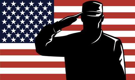 Military service man and flag Stock Vector - 3345645