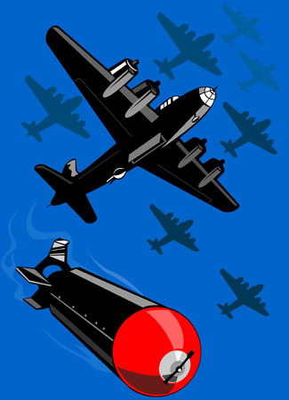Bomber dropping bombs Stock Vector - 3365287