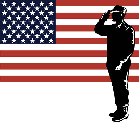 salute: American soldier with flag