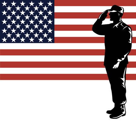 Amerikaanse soldaat met vlag Vector Illustratie