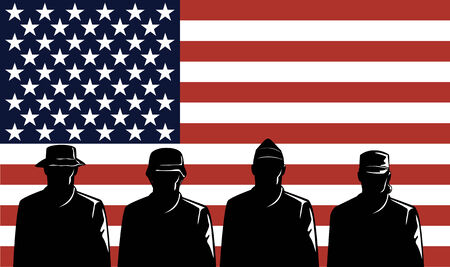 American soldiers with flag Stock Vector - 3365286