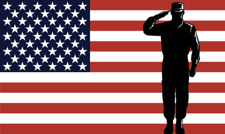 American serviceman with flag Stock Vector - 3365285