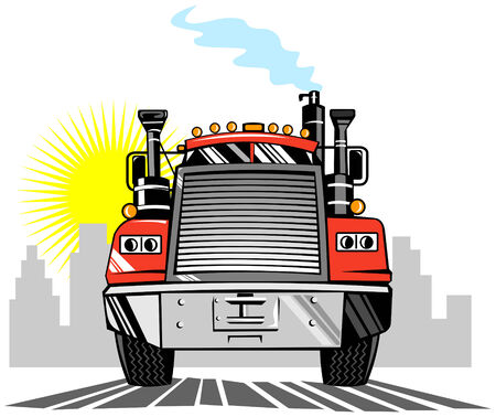 cartage: Truck front view with building in the background Illustration