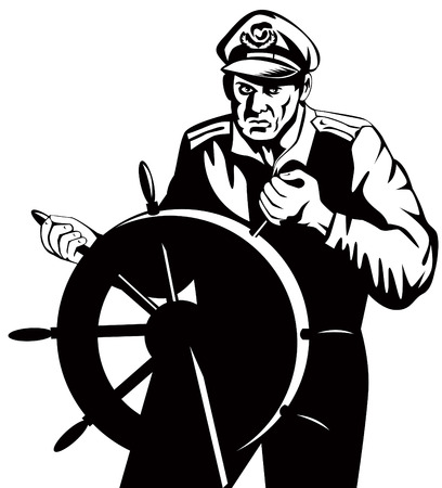 ship steering wheel: Sea captain at the elm