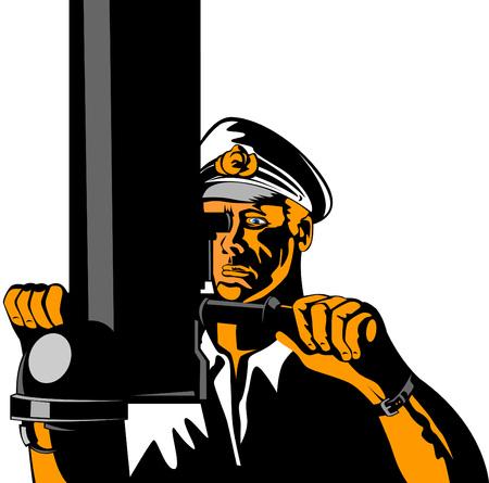 comandante: Submarine capitano usando un Persicope Vettoriali