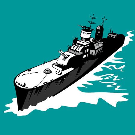 world war two: Battleship with big guns Illustration