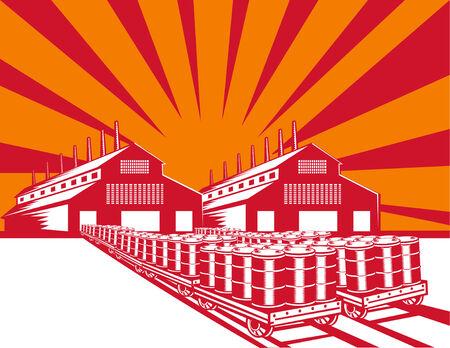 oliedrum: Fabriek produceren vaten olie