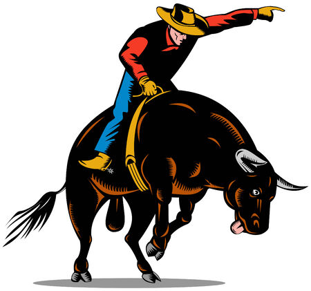 Cowboy riding bull Stock Vector - 3492722