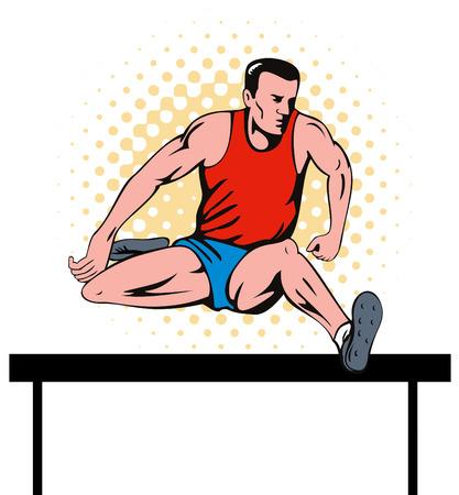 white bacground: Atleta saltando obst�culo