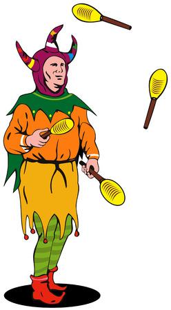 Jester juggling Illustration