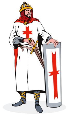 knights templar: Knight with shield