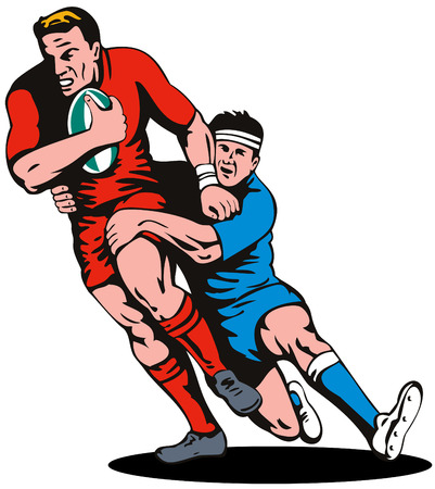 attempt: Rugby player being tackled