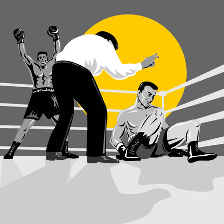 down lights: Referee counting down boxer