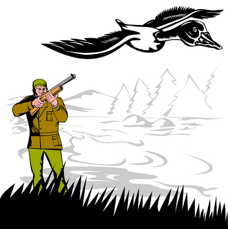 Hunter aiming at duck Stock Vector - 3492748