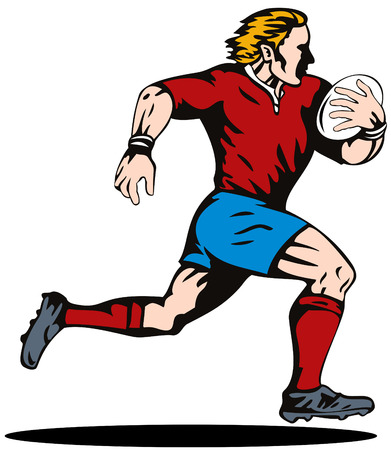 Rugby player running Stock Vector - 3492723