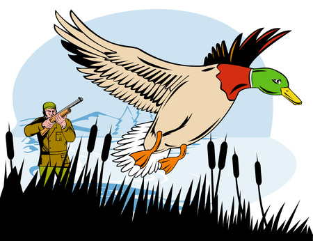 Hunter shooting at duck Illustration