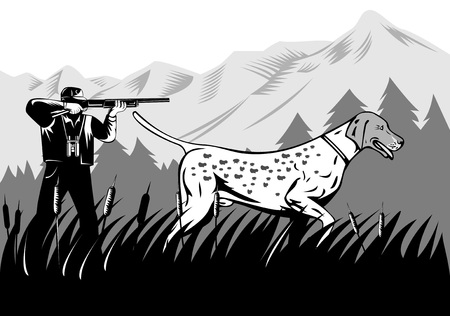 Hunting dog with hunter in the background Vector