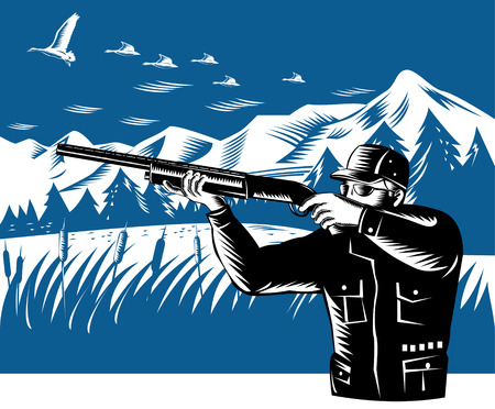 wildlife shooting: Hunter shooting  Illustration
