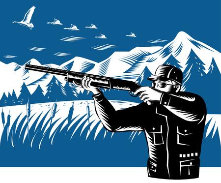 Hunter shooting Stock Vector - 3492778