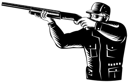 shooting gun: Hunter shooting  Illustration