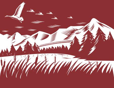 xilografia: Patos volando con el paisaje en el fondo  Vectores