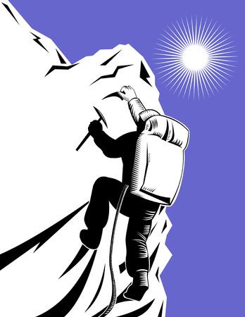 クライマー: 登山  イラスト・ベクター素材
