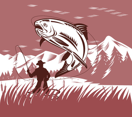 Fly fisherman catching a trout Vector