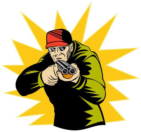 aiming: Man aiming  shotgun at you