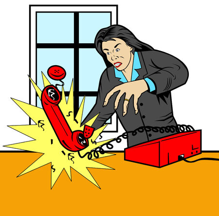 Angry woman throwing down phone Vector